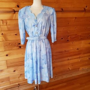NWT California Looks Blue Leaf Polyester Dress